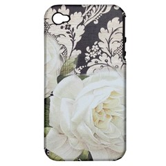 Elegant White Rose Vintage Damask Apple Iphone 4/4s Hardshell Case (pc+silicone) by chicelegantboutique