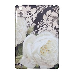 Elegant White Rose Vintage Damask Apple Ipad Mini Hardshell Case (compatible With Smart Cover) by chicelegantboutique