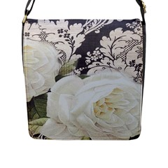 Elegant White Rose Vintage Damask Flap Closure Messenger Bag (large)