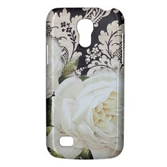 Elegant White Rose Vintage Damask Samsung Galaxy S4 Mini Hardshell Case  by chicelegantboutique