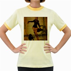 Paris Lady And French Poodle Vintage Newspaper Print Sexy Hot Gil Elvgren Pin Up Girl Paris Eiffel T Womens  Ringer T-shirt (colored) by chicelegantboutique