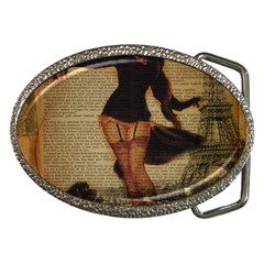 Paris Lady And French Poodle Vintage Newspaper Print Sexy Hot Gil Elvgren Pin Up Girl Paris Eiffel T Belt Buckle (oval) by chicelegantboutique