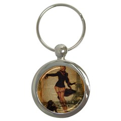 Paris Lady And French Poodle Vintage Newspaper Print Sexy Hot Gil Elvgren Pin Up Girl Paris Eiffel T Key Chain (round) by chicelegantboutique