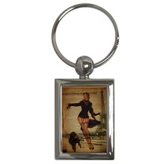 Paris Lady And French Poodle Vintage Newspaper Print Sexy Hot Gil Elvgren Pin Up Girl Paris Eiffel T Key Chain (rectangle) by chicelegantboutique