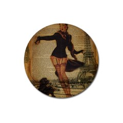 Paris Lady And French Poodle Vintage Newspaper Print Sexy Hot Gil Elvgren Pin Up Girl Paris Eiffel T Magnet 3  (round) by chicelegantboutique