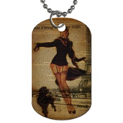 Paris Lady And French Poodle Vintage Newspaper Print Sexy Hot Gil Elvgren Pin Up Girl Paris Eiffel T Dog Tag (two Sided)  by chicelegantboutique
