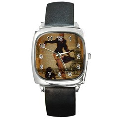 Paris Lady And French Poodle Vintage Newspaper Print Sexy Hot Gil Elvgren Pin Up Girl Paris Eiffel T Square Leather Watch by chicelegantboutique