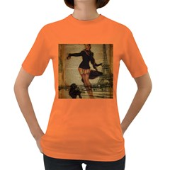 Paris Lady And French Poodle Vintage Newspaper Print Sexy Hot Gil Elvgren Pin Up Girl Paris Eiffel T Womens' T Shirt (colored) by chicelegantboutique