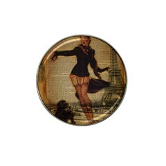 Paris Lady And French Poodle Vintage Newspaper Print Sexy Hot Gil Elvgren Pin Up Girl Paris Eiffel T Golf Ball Marker (for Hat Clip) by chicelegantboutique