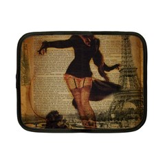 Paris Lady And French Poodle Vintage Newspaper Print Sexy Hot Gil Elvgren Pin Up Girl Paris Eiffel T Netbook Case (small) by chicelegantboutique