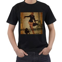 Paris Lady And French Poodle Vintage Newspaper Print Sexy Hot Gil Elvgren Pin Up Girl Paris Eiffel T Mens' T-shirt (black) by chicelegantboutique