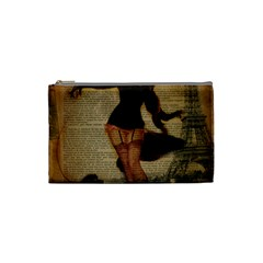 Paris Lady And French Poodle Vintage Newspaper Print Sexy Hot Gil Elvgren Pin Up Girl Paris Eiffel T Cosmetic Bag (small) by chicelegantboutique