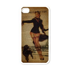 Paris Lady And French Poodle Vintage Newspaper Print Sexy Hot Gil Elvgren Pin Up Girl Paris Eiffel T Apple Iphone 4 Case (white) by chicelegantboutique