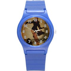 Paris Lady And French Poodle Vintage Newspaper Print Sexy Hot Gil Elvgren Pin Up Girl Paris Eiffel T Plastic Sport Watch (small) by chicelegantboutique