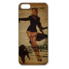 Paris Lady And French Poodle Vintage Newspaper Print Sexy Hot Gil Elvgren Pin Up Girl Paris Eiffel T Apple Seamless Iphone 5 Case (clear) by chicelegantboutique