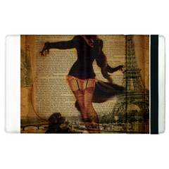 Paris Lady And French Poodle Vintage Newspaper Print Sexy Hot Gil Elvgren Pin Up Girl Paris Eiffel T Apple Ipad 3/4 Flip Case