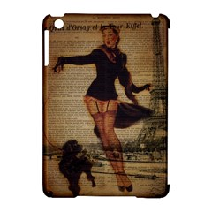 Paris Lady And French Poodle Vintage Newspaper Print Sexy Hot Gil Elvgren Pin Up Girl Paris Eiffel T Apple Ipad Mini Hardshell Case (compatible With Smart Cover) by chicelegantboutique