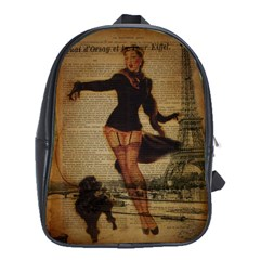 Paris Lady And French Poodle Vintage Newspaper Print Sexy Hot Gil Elvgren Pin Up Girl Paris Eiffel T School Bag (xl) by chicelegantboutique