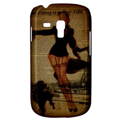 Paris Lady And French Poodle Vintage Newspaper Print Sexy Hot Gil Elvgren Pin Up Girl Paris Eiffel T Samsung Galaxy S3 Mini I8190 Hardshell Case by chicelegantboutique