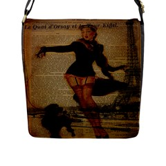 Paris Lady And French Poodle Vintage Newspaper Print Sexy Hot Gil Elvgren Pin Up Girl Paris Eiffel T Flap Closure Messenger Bag (large) by chicelegantboutique