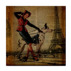 Paris Girl And Great Dane Vintage Newspaper Print Sexy Hot Gil Elvgren Pin Up Girl Paris Eiffel Towe Ceramic Tile by chicelegantboutique
