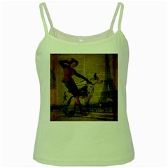 Paris Girl And Great Dane Vintage Newspaper Print Sexy Hot Gil Elvgren Pin Up Girl Paris Eiffel Towe Green Spaghetti Tank by chicelegantboutique