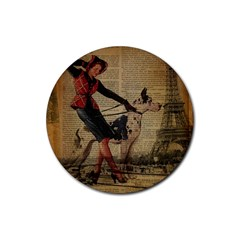 Paris Girl And Great Dane Vintage Newspaper Print Sexy Hot Gil Elvgren Pin Up Girl Paris Eiffel Towe Drink Coasters 4 Pack (round) by chicelegantboutique
