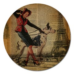 Paris Girl And Great Dane Vintage Newspaper Print Sexy Hot Gil Elvgren Pin Up Girl Paris Eiffel Towe Magnet 5  (round) by chicelegantboutique