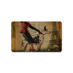 Paris Girl And Great Dane Vintage Newspaper Print Sexy Hot Gil Elvgren Pin Up Girl Paris Eiffel Towe Magnet (name Card) by chicelegantboutique