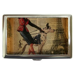 Paris Girl And Great Dane Vintage Newspaper Print Sexy Hot Gil Elvgren Pin Up Girl Paris Eiffel Towe Cigarette Money Case by chicelegantboutique