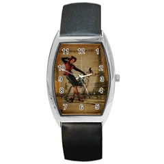 Paris Girl And Great Dane Vintage Newspaper Print Sexy Hot Gil Elvgren Pin Up Girl Paris Eiffel Towe Tonneau Leather Watch by chicelegantboutique