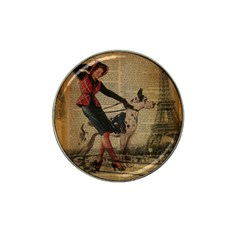 Paris Girl And Great Dane Vintage Newspaper Print Sexy Hot Gil Elvgren Pin Up Girl Paris Eiffel Towe Golf Ball Marker (for Hat Clip) by chicelegantboutique