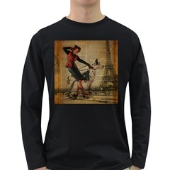 Paris Girl And Great Dane Vintage Newspaper Print Sexy Hot Gil Elvgren Pin Up Girl Paris Eiffel Towe Mens' Long Sleeve T Shirt (dark Colored)