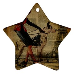 Paris Girl And Great Dane Vintage Newspaper Print Sexy Hot Gil Elvgren Pin Up Girl Paris Eiffel Towe Star Ornament (two Sides) by chicelegantboutique