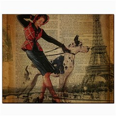Paris Girl And Great Dane Vintage Newspaper Print Sexy Hot Gil Elvgren Pin Up Girl Paris Eiffel Towe Canvas 8  X 10  (unframed) by chicelegantboutique