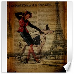 Paris Girl And Great Dane Vintage Newspaper Print Sexy Hot Gil Elvgren Pin Up Girl Paris Eiffel Towe Canvas 20  X 20  (unframed) by chicelegantboutique