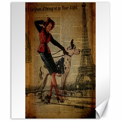 Paris Girl And Great Dane Vintage Newspaper Print Sexy Hot Gil Elvgren Pin Up Girl Paris Eiffel Towe Canvas 20  X 24  (unframed)