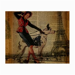 Paris Girl And Great Dane Vintage Newspaper Print Sexy Hot Gil Elvgren Pin Up Girl Paris Eiffel Towe Glasses Cloth (small, Two Sided) by chicelegantboutique