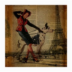 Paris Girl And Great Dane Vintage Newspaper Print Sexy Hot Gil Elvgren Pin Up Girl Paris Eiffel Towe Glasses Cloth (medium, Two Sided) by chicelegantboutique