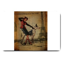 Paris Girl And Great Dane Vintage Newspaper Print Sexy Hot Gil Elvgren Pin Up Girl Paris Eiffel Towe Large Door Mat by chicelegantboutique