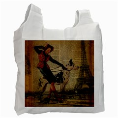 Paris Girl And Great Dane Vintage Newspaper Print Sexy Hot Gil Elvgren Pin Up Girl Paris Eiffel Towe Recycle Bag (one Side) by chicelegantboutique