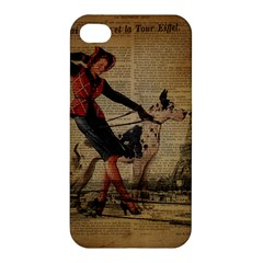 Paris Girl And Great Dane Vintage Newspaper Print Sexy Hot Gil Elvgren Pin Up Girl Paris Eiffel Towe Apple Iphone 4/4s Premium Hardshell Case by chicelegantboutique