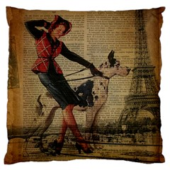 Paris Girl And Great Dane Vintage Newspaper Print Sexy Hot Gil Elvgren Pin Up Girl Paris Eiffel Towe Large Cushion Case (two Sided)  by chicelegantboutique