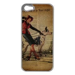 Paris Girl And Great Dane Vintage Newspaper Print Sexy Hot Gil Elvgren Pin Up Girl Paris Eiffel Towe Apple Iphone 5 Case (silver) by chicelegantboutique