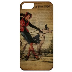 Paris Girl And Great Dane Vintage Newspaper Print Sexy Hot Gil Elvgren Pin Up Girl Paris Eiffel Towe Apple Iphone 5 Classic Hardshell Case by chicelegantboutique