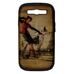 Paris Girl And Great Dane Vintage Newspaper Print Sexy Hot Gil Elvgren Pin Up Girl Paris Eiffel Towe Samsung Galaxy S Iii Hardshell Case (pc+silicone) by chicelegantboutique