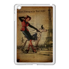 Paris Girl And Great Dane Vintage Newspaper Print Sexy Hot Gil Elvgren Pin Up Girl Paris Eiffel Towe Apple Ipad Mini Case (white) by chicelegantboutique