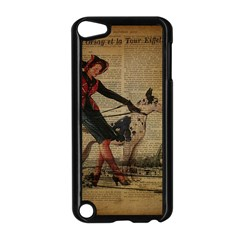 Paris Girl And Great Dane Vintage Newspaper Print Sexy Hot Gil Elvgren Pin Up Girl Paris Eiffel Towe Apple Ipod Touch 5 Case (black)