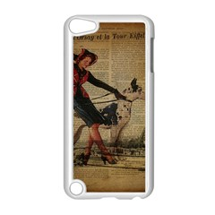 Paris Girl And Great Dane Vintage Newspaper Print Sexy Hot Gil Elvgren Pin Up Girl Paris Eiffel Towe Apple Ipod Touch 5 Case (white)
