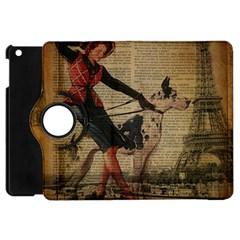 Paris Girl And Great Dane Vintage Newspaper Print Sexy Hot Gil Elvgren Pin Up Girl Paris Eiffel Towe Apple Ipad Mini Flip 360 Case by chicelegantboutique